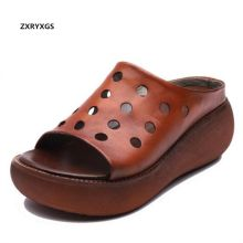 249547867a84b1 ZXRYXGS Brand Sandals Platform Slippers Retro Hollow Genuine Leather Sandals  Roman Thick with Wedges Sandals Women Slippers 2018