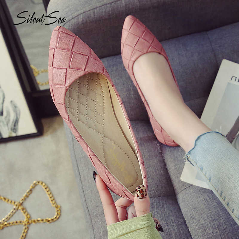 Silentsea 2019 Spring Woman Flats Shoes Slip On Women Shoes Pointed Toe Single Shoes Ladies Shoes Footwear Plus Size 33-43 Pink