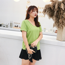 New fashion Korean version of plus-size womens summer cotton short-sleeved v-neck t shirt loose clothing 2045