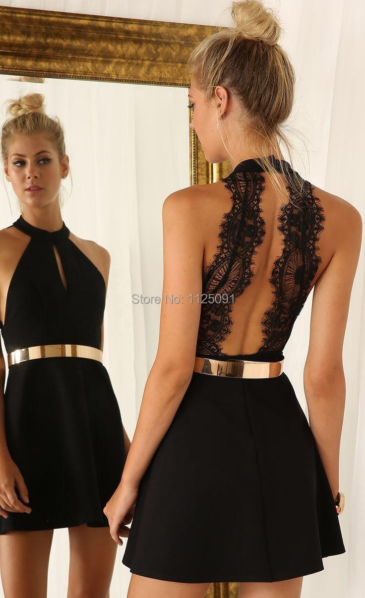 Backless Short Prom   Dresses   2019 New Arrival High Neck Sleeveless Lace Satin Knee Length Black Party   Cocktail     Dresses