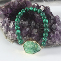 UMY Trendy Gold Plated Rock Crystal Colored With Round Beads Malachite Bracelet Fashion Malachite Jewelry