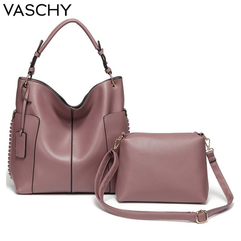 VASCHY Two Pieces Set Women Handbag Hobo Bag Purse for women,Vaschy Faux Leather Shopper Tote Fashion Pink ladies hand bags