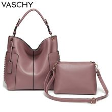 VASCHY Two Pieces Set Women Handbag Hobo Bag Purse for women,Vaschy Faux Leather Shopper Tote Fashion Pink ladies hand bags tassel decor two tone shopper bag