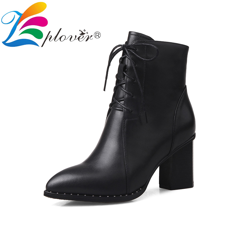ankle boots for women genuine leather shoes woman pointed toe rivet high heels women boots thick heels botas mujer цена