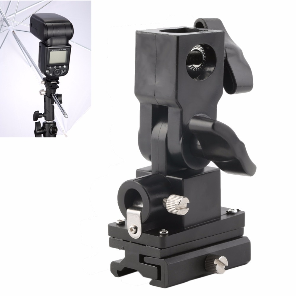 Universal Type B Hot Shoe Flash Umbrella Holder Swivel Light Stand Bracket For Camera