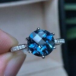 [MeiBaPJ] новый продукт рекомендует полностью прозрачное Сверкающее лицо с натуральным голубым топазом Лондона Открытое кольцо