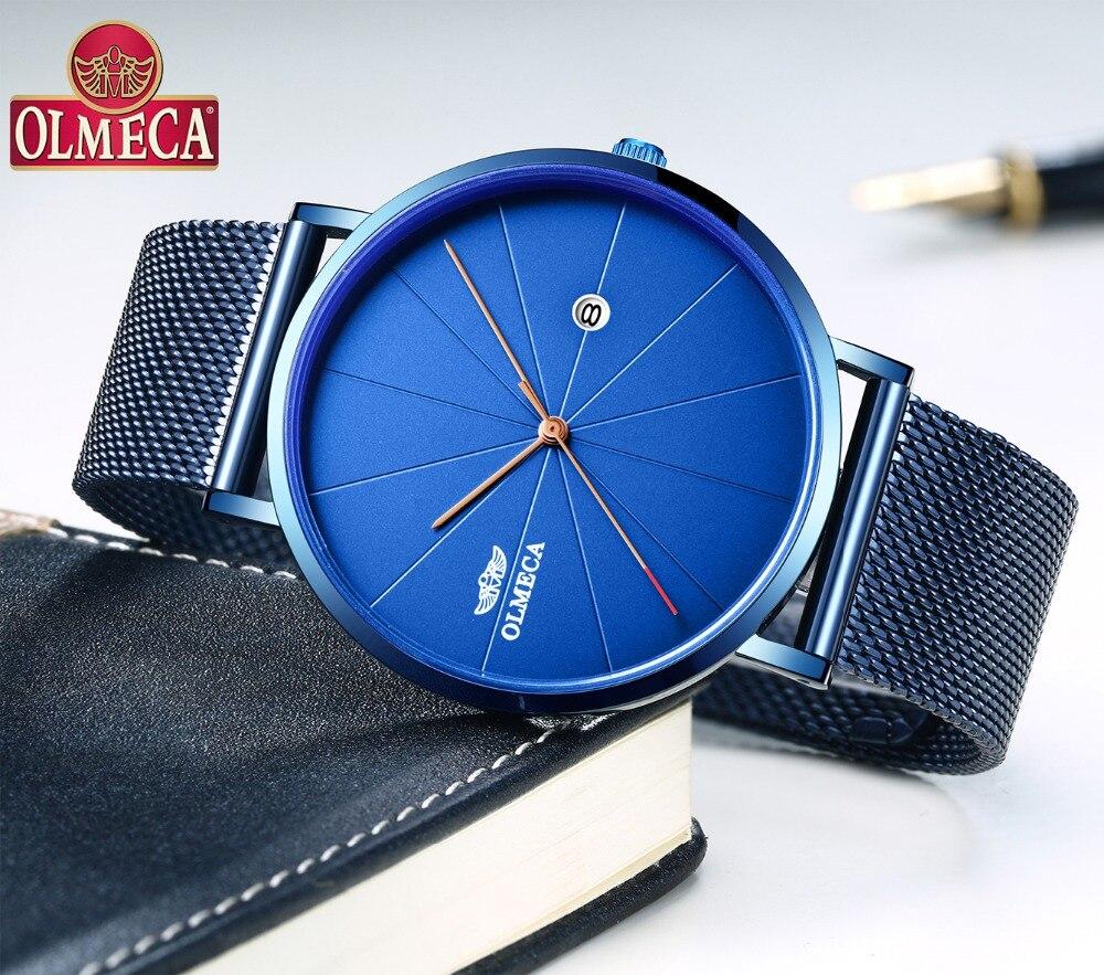Лучший бренд OLMECA кварцевые часы Relogio Masculino Мода Полный календари наручные часы 3ATM водостойкие Военная Униформа часы для мужчин