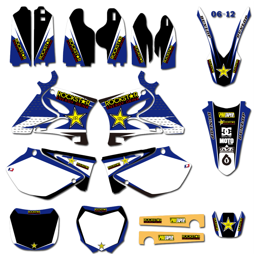 For Yamaha YZ125 YZ250 YZ 125 250 1996 1997 2014 Motorcycle Rockstar Team Graphic Background Decal