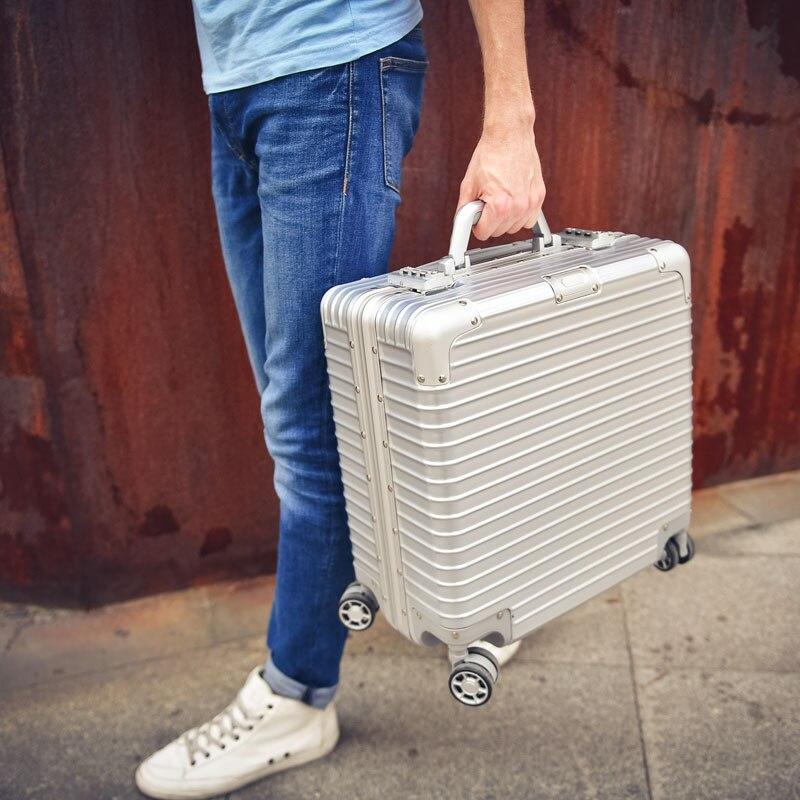 18 Zoll Handgepäck Aluminium Maletas De Cabina Koffer Aluminium Reise Trolley Aluminium Reise-koffer Weich Und Rutschhemmend