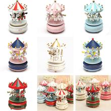 Wooden Carousel Music Box Horse Merry-Go-Round Carousel Classical Musical Case Theme Kids Children Room Decor Present Toys