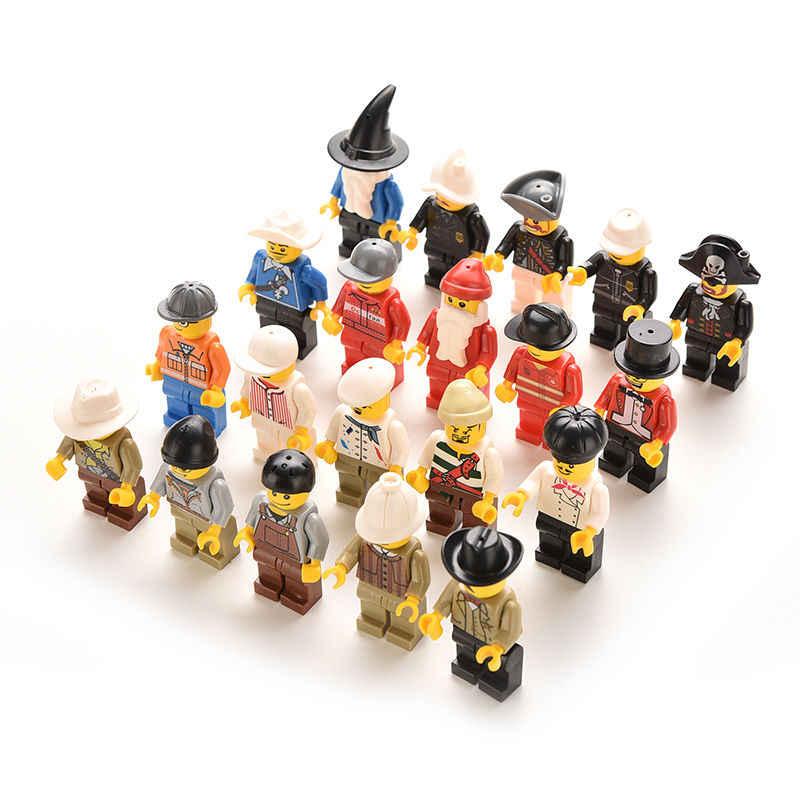 20 قطعة/الوحدة متعدد الألوان عمل لعبة الشكل الرجال الناس Minifigs انتزاع حقيبة هدية الأصلي Playmobil البلاستيك الاطفال الفتيان اللعب