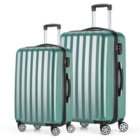 2017 Fochier Travel Luggage Set 4 Wheels Cabin ABS Hard Shell Trolley Suitcase Green 20 24inch