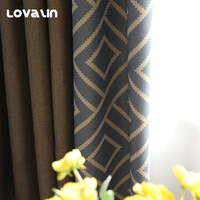Lovalin Luxury Window Curtains Geometric Rideaux Two Side Blackout Curtain for Living Room Nordic Cortina Bedroom Home Decor
