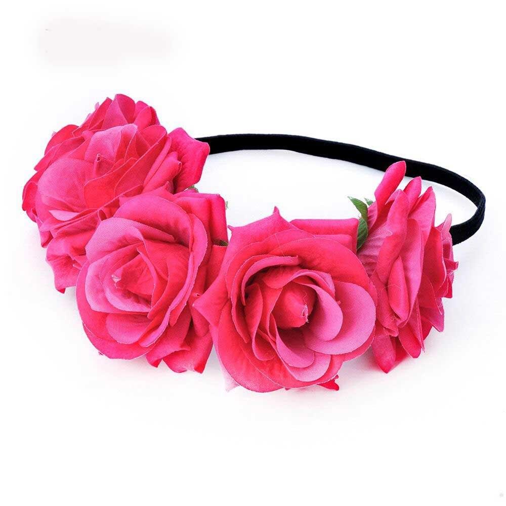 Fashion Bohemia Style Rose Flower Headbands Girl Floral Crown Hairband Wedding Hair Garland Bridal Wedding Hair Acessories