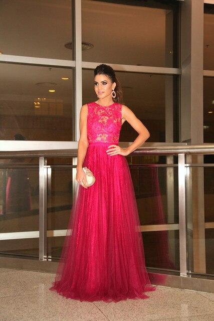 Arabic Burgandy Chic Long Evening Dresses Illusion Jewel Sheer ...
