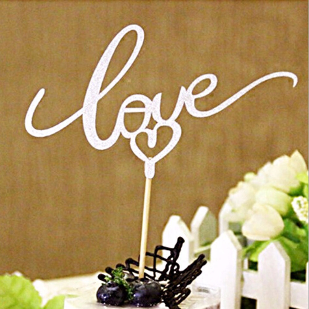 buy jetting silver gold sparkle glitter love cake topper fashion festival wedding decoration cake decoration 1pcs cake decoration from