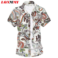 LONMMY M-6XL Mercerized cotton floral shirts mens clothes Short sleeve men shirt Flower Camisa social Slim fit Summer