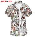 LONMMY M-6XL camisas florais homens roupas de manga Curta dos homens camisa de algodão Mercerizado Flor Camisa sociais Slim fit Verão