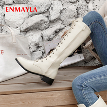 ENMAYLA PU Round Toe Winter Motorcycle Boots Short Plush Solid TPR Cross-tied Women Shoes Med Fur