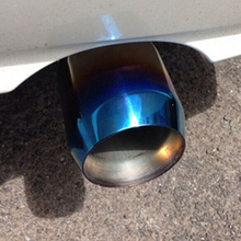 DSYCAR Universal Grilled blue Stainless Steel Car Rear Round Exhaust Pipe Cover Tail Muffler Tip Car styling Car Modification