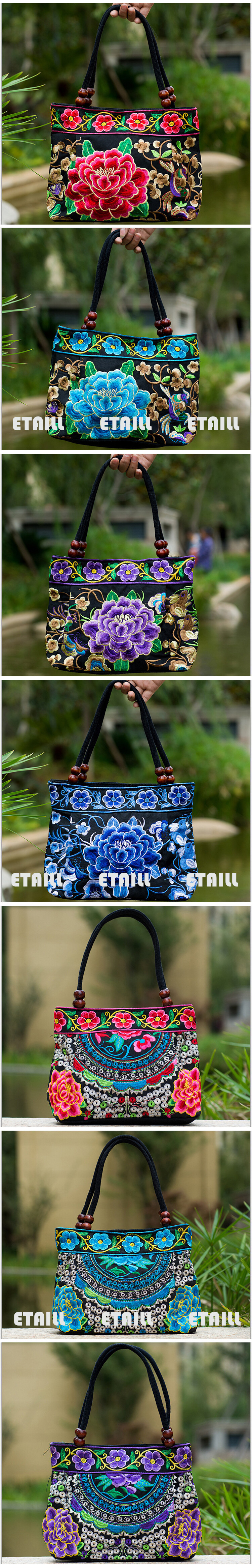 embroidered handbag tote bag