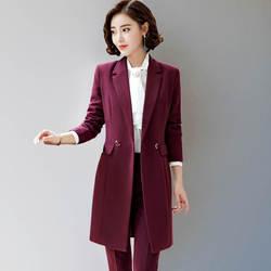 Индивидуальный Новый женский длинный отрезок модный тонкий костюм из двух частей костюм (куртка + брюки) Женский костюм деловой строгий