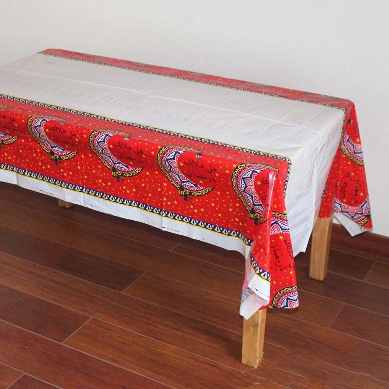 PE Plastic Disposable Party Table Cloth Eid al-Fitr Ramadan Tableware Table Cover Waterproof For Moslem Islamism Decor 108x180cm