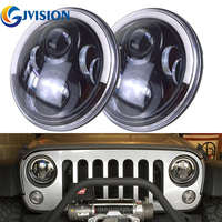 7inch Round 60W Hi/Lo Beam LED Driving Light Headlights with DRL & Turn Signal & Halo Ring Angle Eyes for Jeep Wrangler JK TJ