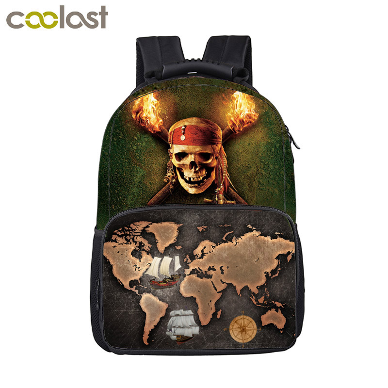 Cool Pirate Skull Backpack For Teenage Boys Schoolbags Children School Bags Kids Student Laptop Backpack Best Gift Bookbag funny cartoon game over backpack for teenage boys girls children school bags kids backpack laptop shoulder bags best gift