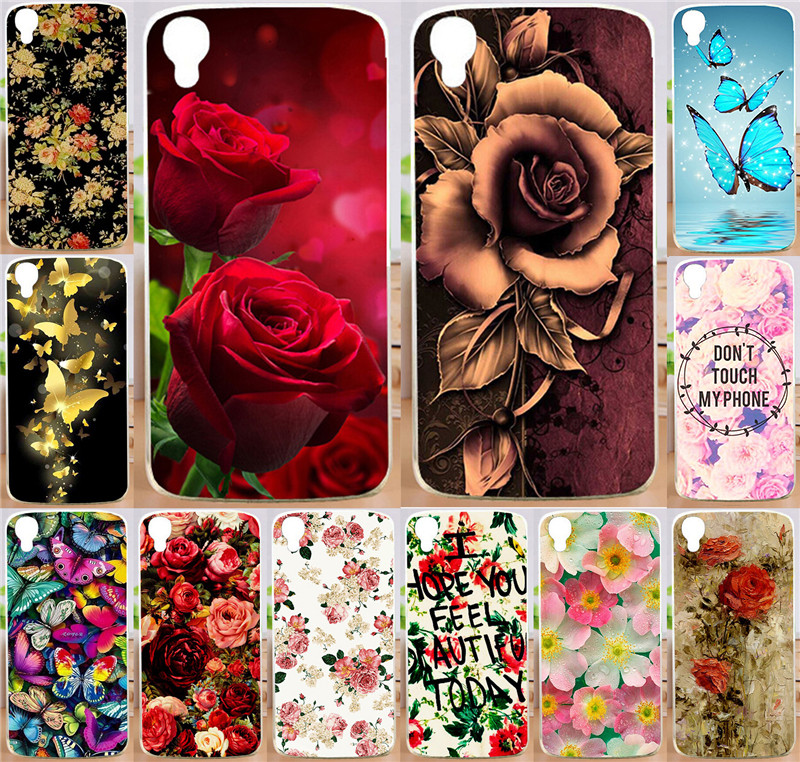 Brilliant Rose Flowers Butterfly Painted PC Plastic Phone Case Cover For Alcatel One Touch Idol 3 5.5 inch 6045 6045Y 6045K Capa