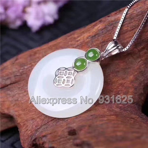 925 silver Natural White Green HeTian Yu Round Gem Dangle Design Lucky Pendant Necklace + certificate Fashion Jewelry