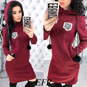Autumn Winter New Colored cotton Women Dress Hairball Long Sleeve Straight Pockets Hooded Dresses Plus Size Warm Mini Vestidos