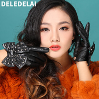 DELEDELAI fall winter lady women tshow accssory decoration fashion show Big bow gift cool punk Leather sheepskin Gloves mittens