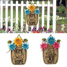 HOME SWEET HOME Wooden Spring Garden Flower Basket Metal Hanging Board Wood Easter Basket And Iron Plaque Easter Decoration