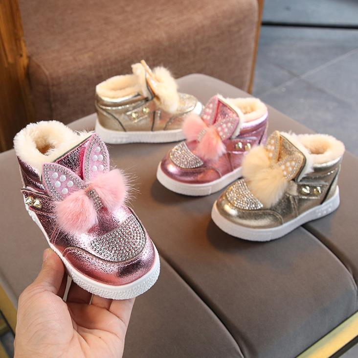 HaoChengJiaDe Baby Snow Boots For Boys And Girls Kids Snow Boots Soft Fur Shoes Cute Cartoon Children Leather Australia Shoes