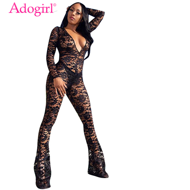 54c576ff026 Adogirl Women Sheer Lace Jumpsuit Sexy Plunge V Neck Long Sleeve Romper  Boot Cut Overalls Flare Pants Club Costumes Outfits