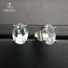 TBJ, серьги с натуральным аквамариновым драгоценным камнем, простые маленькие классические серьги в 925 пробы серебряного цвета для девочек и женщин, подарок на помолвку