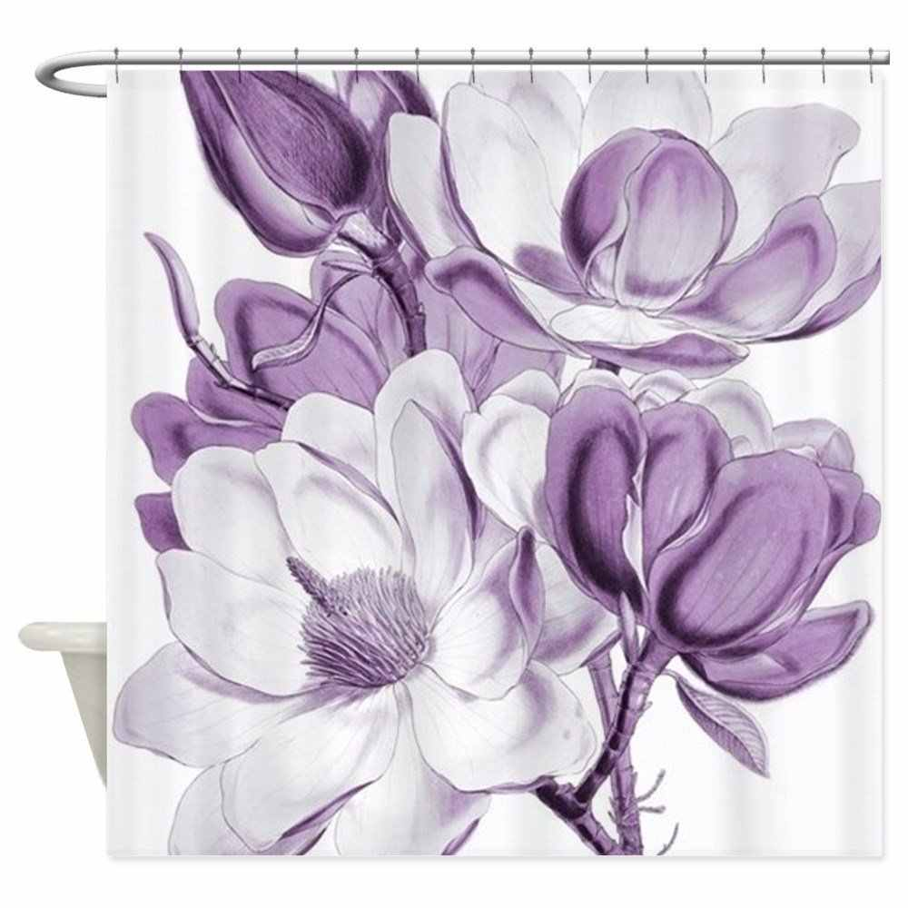 Magnolia Purple Dream Shower Curtain Mat Decorative Waterproof Polyester Fabric Bathroom Curtain Set Home Bath Decor Multi-size