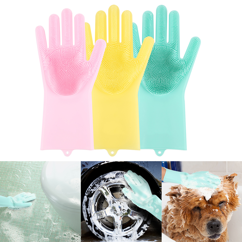 1 par magia casa guantes para lavar platos de guantes de látex respetuoso del medio ambiente hogar jardín guantes de limpieza auto mascota cuidado ayudante