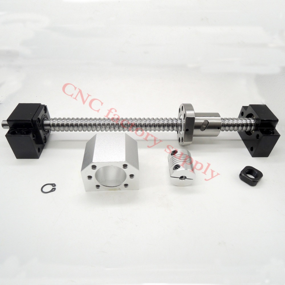 SFU1605 set:SFU1605 L500mm rolled ball screw C7 with end machined + 1605 ball nut + nut housing + BK/BF12 end support + coupler