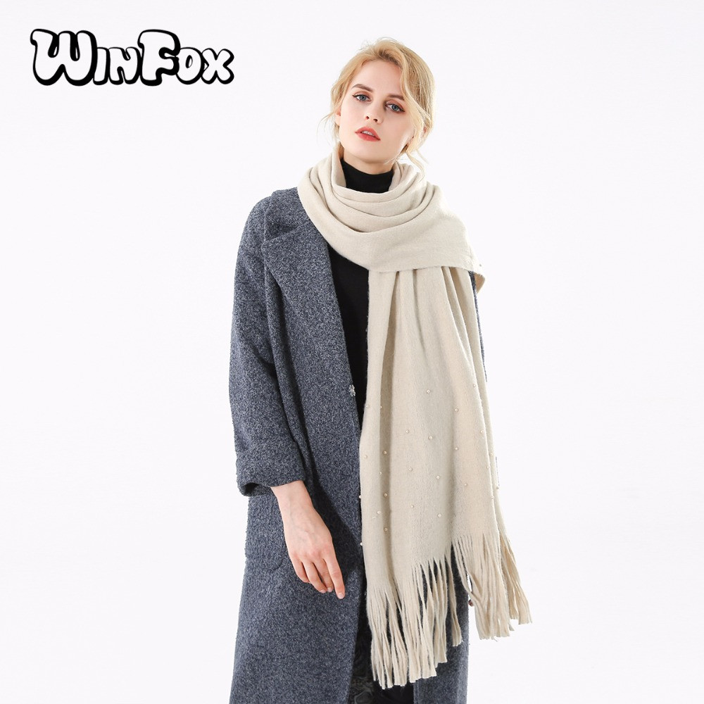 Winfox 2018 New Brand Fashion Winter Beige Grey Green Tassel Cashmere Scarf With Pearl For Womens Ladies Traveling Apparel Accessories