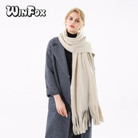 Winfox 2018 New Brand Fashion Winter Beige Grey Green Tassel Cashmere Scarf With Pearl For Womens Ladies