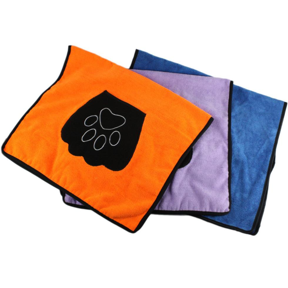 Super Pet Dog Drying Towel With Paw Striped Pocket Ultra