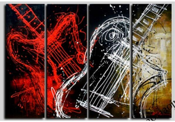 Oil Picture 100% Hand Painted Guitar Canvas Art Modern