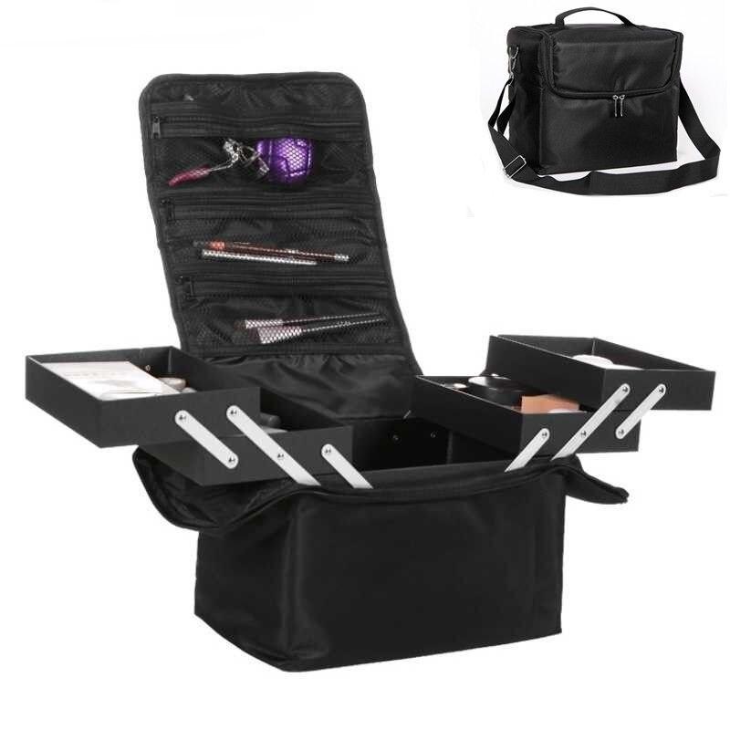 Grande capacidade caixa de armazenamento de cosméticos feminino viagem portátil dobrável maquiagem beleza manicure ferramenta organizador moda maquiagem caso