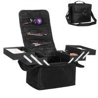 Large Capacity Women Cosmetics Storage Box Travel Portable Collapsible Makeup Beauty Manicure Tool Organizer Fashion Makeup Case
