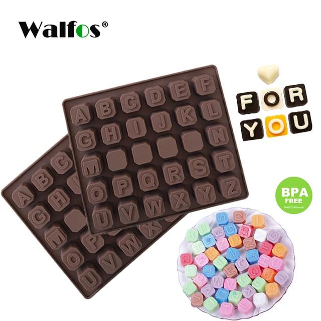 WALFOS 26 אותיות באנגלית 4 לוח שוקולד סיליקון עובש סוכריות קרח קוביית עובש מאפה סבון עובש עוגת פונדנט DIY אפייה כלי