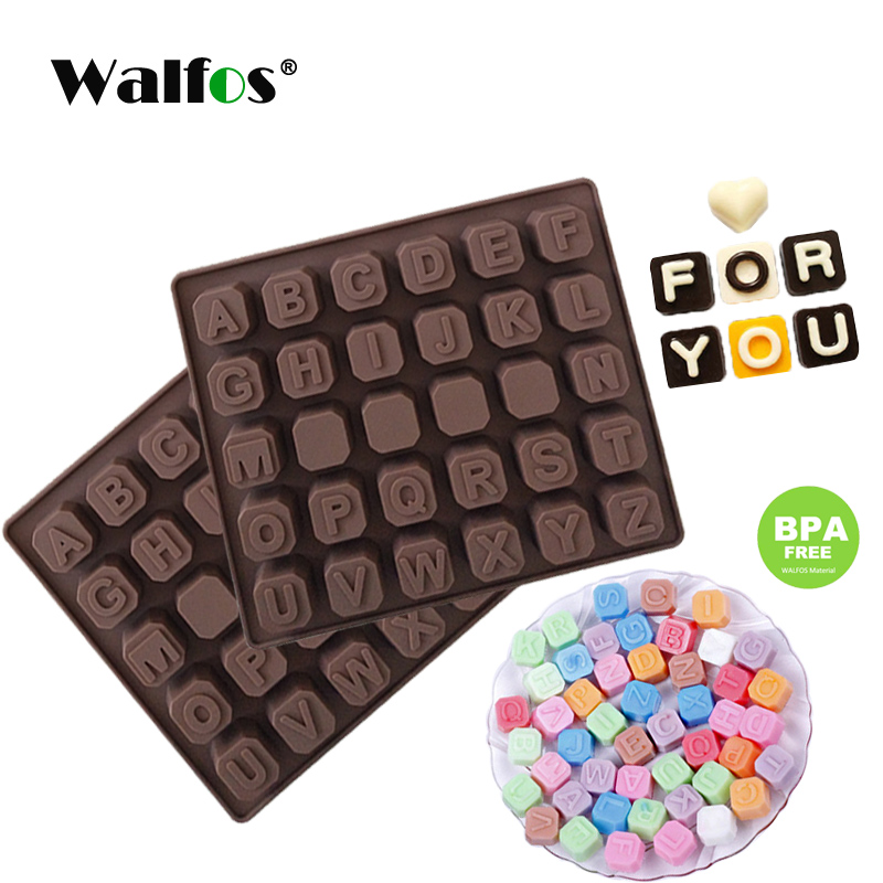 WALFOS 26 English Letters 4 Whiteboard Chocolate Silicone Mold Candy Ice Cube Mold Pastry Soap Mold Fondant Cake DIY Baking Tool