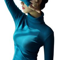95 Cotton T Shirt Women Spring Autumn High Quality Long Sleeve Turtleneck Basic T Shirts Tops