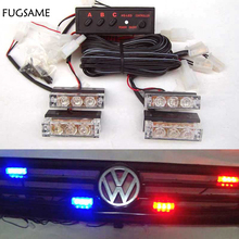 4x3 LED Red Blue White Green Amber Yellow strobe light led  flash Fire Flashing Blinking Strobe Emergency Car Lights Kit